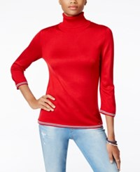 Tommy Hilfiger Colorblocked Turtleneck Sweater Only At Macy's Scarlet Combo