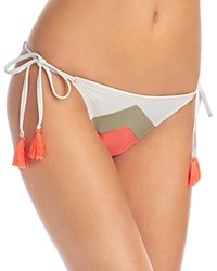Vince Camuto Camellia Chevron Stripe String Side Tie Bikini Bottom Pop Coral