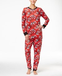 Briefly Stated Mickey Mouse Plaid Jumpsuit