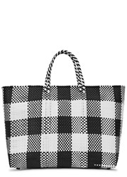 Truss Large Monochrome Checked Woven Tote Black And White