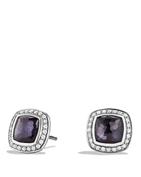 David Yurman Earrings With Lavender Amethyst And Diamonds Silver Purple