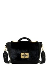 Treesje Clara Genuine Calf Hair Shoulder Bag Black