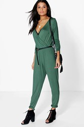 Boohoo Wrap Front Casual Jumpsuit Khaki