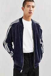 Adidas Velour Track Jacket Navy