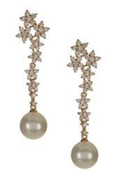 18K Gold Plated Sterling Silver Shell Pearl And Floral Cz Drop Earrings White