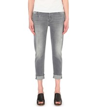 7 For All Mankind Josefina Boyfriend Mid Rise Jeans Ivory Grey