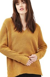 Topshop Women's Ribbed V Neck Sweater Mustard