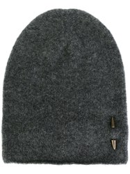 Isabel Benenato Piercing Detail Beanie Hat Grey