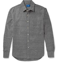 Beams Japan Slim Fit Brushed Cotton Oxford Shirt Gray