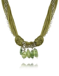 Daco Milano Green Gemstone Drops Multi Strand Sterling Silver Lace Necklace