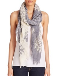 Tilo Geometric Floral Wool And Silk Scarf Grey Ivory