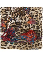 Dolce And Gabbana Bengal Cat Print Scarf Brown