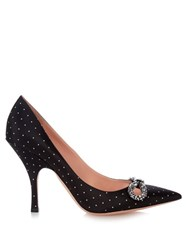 Rochas Crystal Bow Embellished Polka Dot Pumps Black White