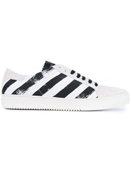 Off White Striped Sneakers White