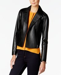 Armani Exchange Faux Leather Moto Jacket Solid Black