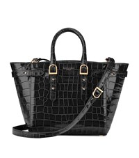 Aspinal Of London Croc Print Midi Marylebone Tote Unisex Black