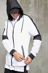 Forever 21 Hooded Two Tone Windbreaker White Black