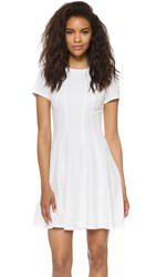 Rebecca Taylor Short Sleeve Knit Pique Dress Snow