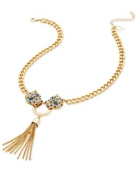 Thalia Sodi Gold Tone Pave Leopard Tassel Lariat Necklace Only At Macy's