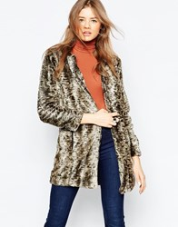Gestuz Tulipa Animal Print Faux Fur Coat Br1