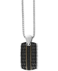 Effy Collection Gento By Effy Men's Black Sapphire Dog Tag Necklace 1 2 Ct. T.W. In 18K Gold And Sterling Silver