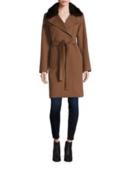 Jane Post Mink Fur Collar Wool Wrap Coat Tan