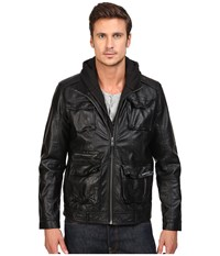 Members Only L Train Washed Pu Jacket Black Men's Coat