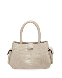 Nancy Gonzalez Small Crocodile Satchel Bag Gray