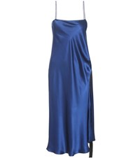 Ellery Tony Silk Satin Slip Dress Blue