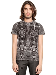 John Richmond Tribal Printed Cotton Jersey T Shirt Black White
