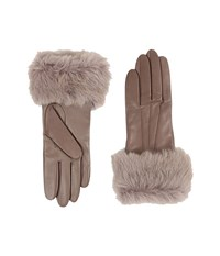 Ugg Three Point Long Toscana Trim Leather Smart Gloves Stormy Grey Two Tone Extreme Cold Weather Gloves Beige