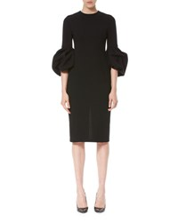 Carolina Herrera Assassin Bell Sleeve Sheath Dress Black