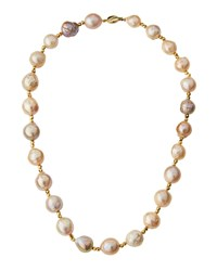 Belpearl 14K Pink Freshwater Pearl And Pyrite Necklace