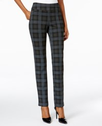 Charter Club Pattern Ponte Cambridge Slim Leg Pull On Pants Only At Macy's Charcoal Heather Combo