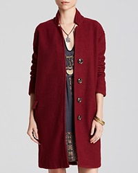 Free People Overcoat Solid Long And Lean Red Velvet