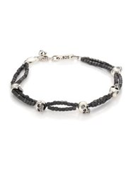 King Baby Studio Gray Hematite And Skull Bracelet Grey