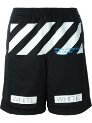 Off White Striped Detail Track Shorts Black