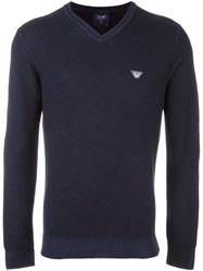Armani Jeans V Neck Fine Knit Jumper Blue