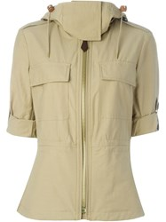 Burberry Brit Flap Chest Pockets Hooded Jacket Nude And Neutrals