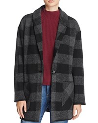 Aqua Plaid Coat Black Grey