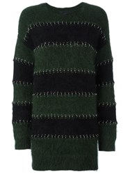 Alexander Wang Ring Pierced Rugby Sweater Dress Black