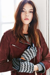 Urban Outfitters Marled Overlay Leather Texting Glove Black Multi