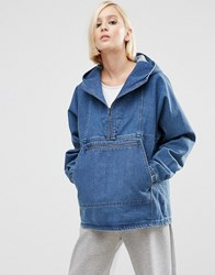 Asos Denim Hoodie With Kangaroo Pocket In Mid Blue Wash Blue