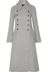 Double Breasted Wool And Silk Blend Coat Gray