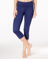 Gaiam Luxe Yoga Capri Leggings Midnight Blue