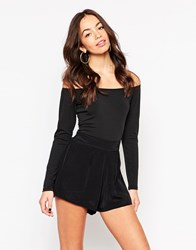 Motel Katherine Off Shoulder Jumpsuit Blackblack
