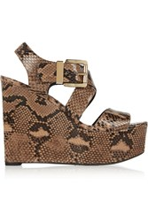 Michael Kors Vina Python Wedge Sandals Animal Print