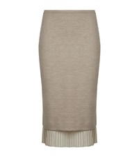 Max Mara Maxmara Pleat Hem Pencil Skirt Female Beige