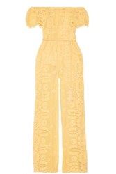 Miguelina Brisa Off The Shoulder Crocheted Cotton Jumpsuit Yellow