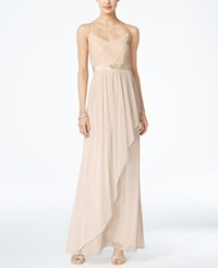 Adrianna Papell Spaghetti Strap Lace Gown Almond